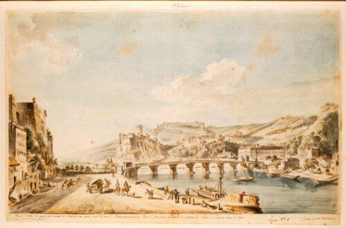 Jean-Baptiste Lallemand, Vue de l'entrée de Lyon en venant de Chalons sur Saone avec le pont d'Arlincours au bac du Port St Jean sur le devant et le chateau de Pierre-Ancise dans le fond